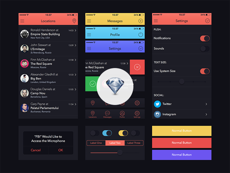 UI Kit for Marvel App [Sketch.app] app iphone ios7 freebie template