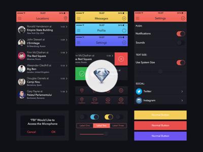 UI Kit for Marvel App [Sketch.app] app iphone ios7 freebie template