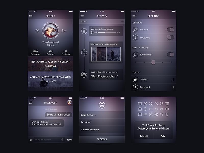 Ui Kit for ewebdesign.com [Freebie] app ui kit ewebdesign dark