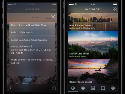 Unofficial re-design for Backdrops App