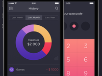Walle Finance App [Password and History Screens]