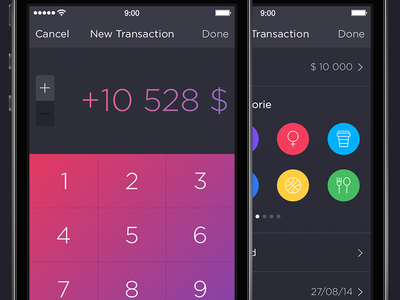 Walle Finance App [New & Edit Transactions] app ui ios7 ipad iphone walle finance creative market