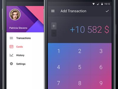 Walle Finance App Android [Sidebar] app ui android walle finance card week sidebar