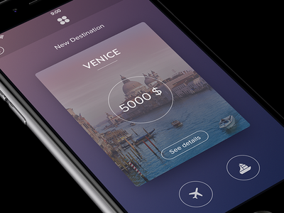 Travel App [Card View] app ios iphone card gradient view