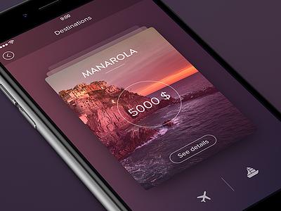 Travel App [Card Views] freebie cards graph ios8 ios7 dark white ui app