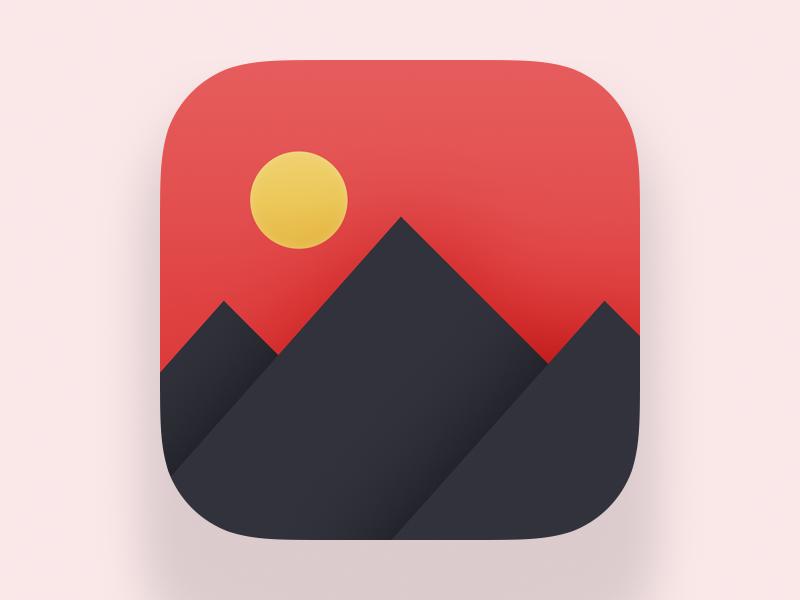 Japanese Icon for Photo Editor sun red mountains ipad ios icon