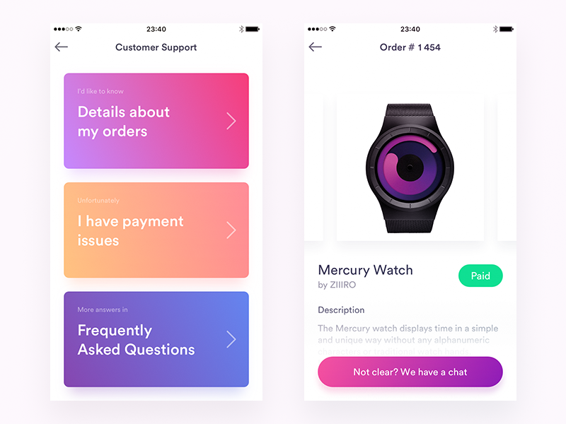 Customer Support and Orders History Screens block gradients card ecommerce ipad iphone ui app