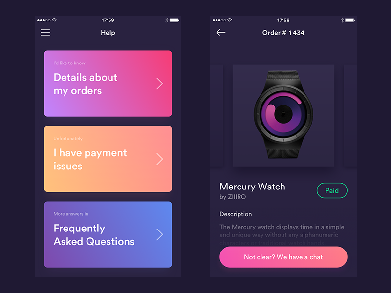 Customer Support and Orders History Screens [Dark Version] ui iphone ipad gradients ecommerce card block app
