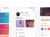 eCommerce App [Profile, Cards & Item Card Screens]