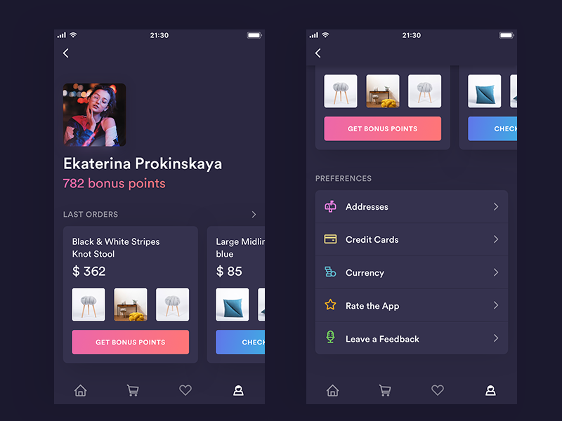 Shopping Profile [Dark Version] app gradient iphone ipad ios shopping simple ui light profile card preferences