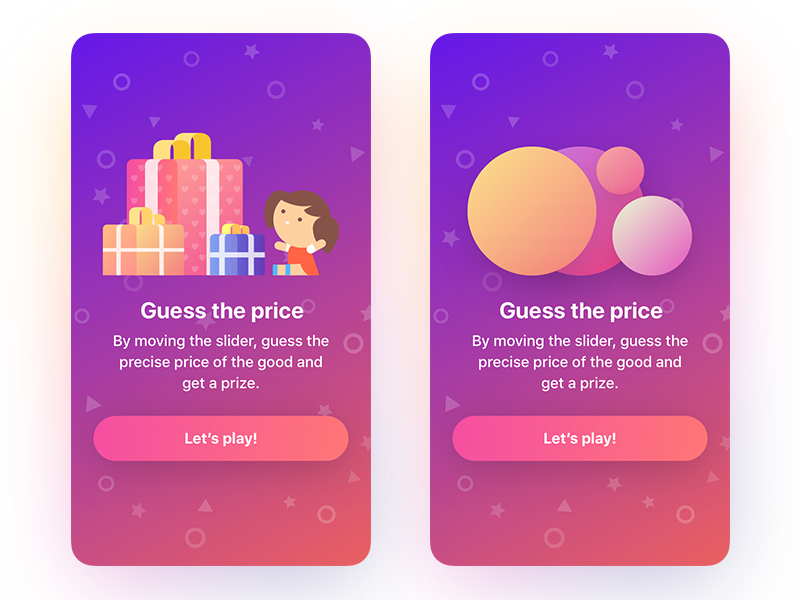 Guess the price game prize price guess gradient game ux ipad iphone ui app