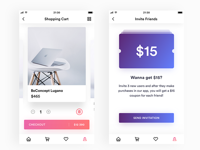 Shopping Cart and Invite Friends gradient cards card iphone ipad coupon friends invite cart shopping app