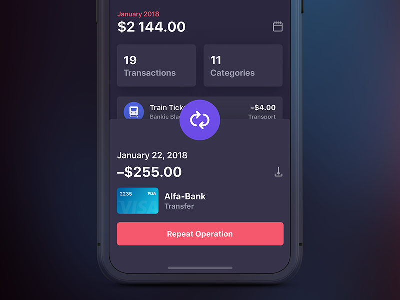 Bankie UI Kit — Transaction Info [Dark] app ui iphone ipad ux bankie kit transactions category dark gradient info