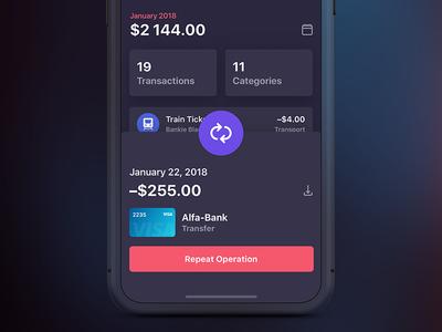 Bankie UI Kit — Transaction Info [Dark] app ui iphone ipad ux bankie kit transactions category dark gradient info