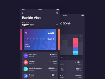 Bankie UI Kit — Cards and Month's Transactions cards transaction light ui simple photo ios ipad iphone gradient edit app