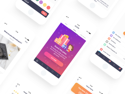 eCommerce App [Profile, Points System and Game Screens] icon app ios iphone ipad gradient cards on-boarding settings points game