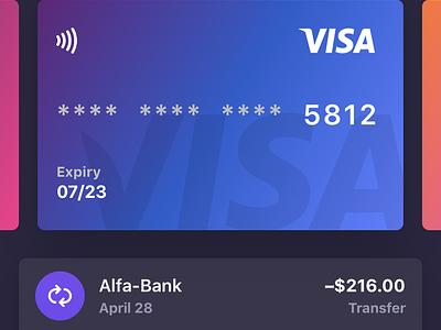 Bankie UI Kit — Dark Version ui transaction simple photo light iphone ipad ios gradient edit cards app