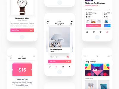 Shopping UI Overview [Light Verison] card item promotion tracking shopping iphone ipad ios light cart app