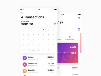 Bankie UI Kit — Edit Card and Month's Transactions ui transaction simple photo light iphone ipad ios gradient edit cards app