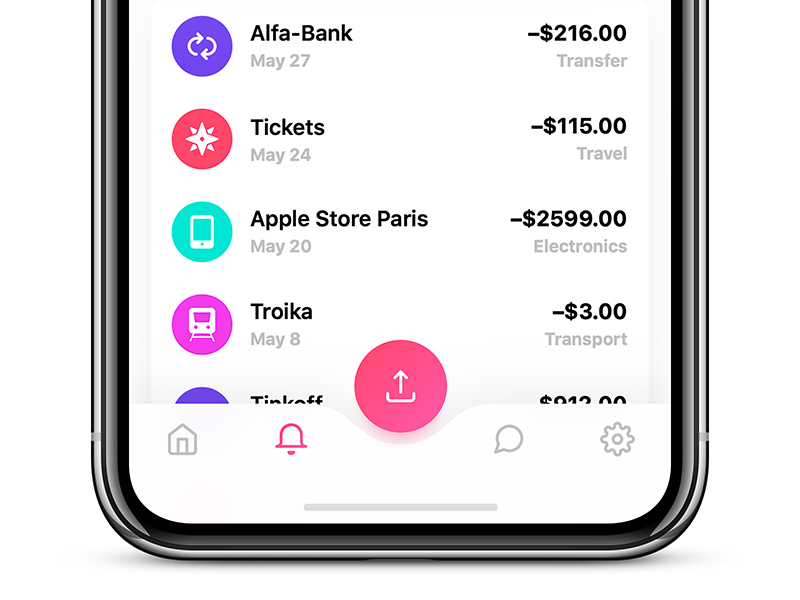 Tab Bar for Bankie UI Kit ui tab bar simple photo light iphone ipad ios gradient edit cards app
