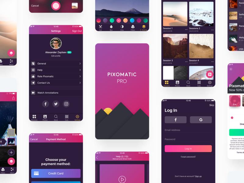 Pixomatic Pro Update pixomatic dark gradient ui ipad iphone app