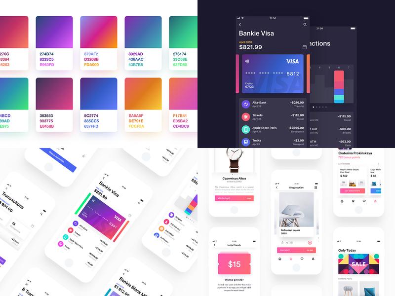 2018 dark gradient ui ipad iphone app