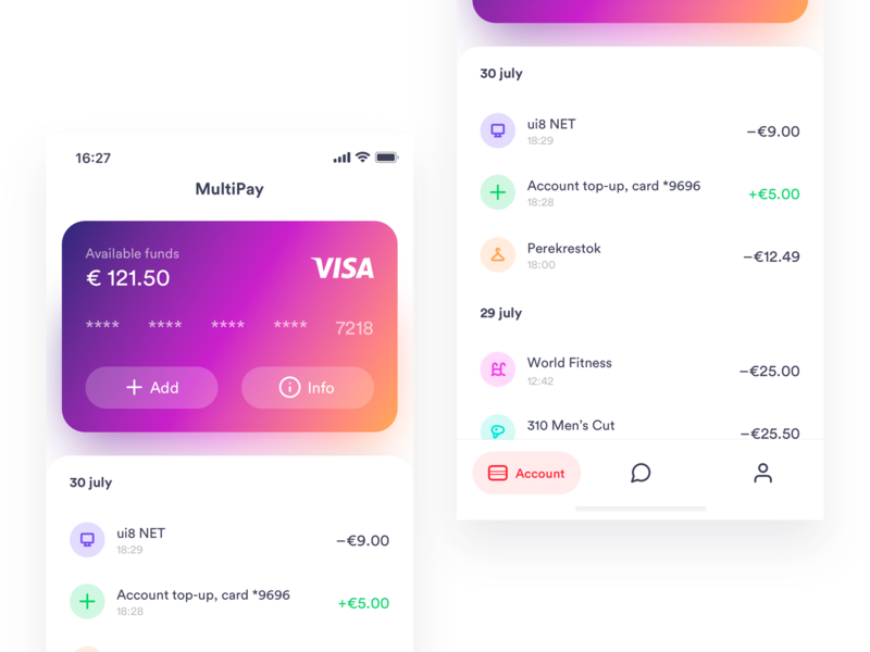 MultiPay design finance gradient ios iphone app