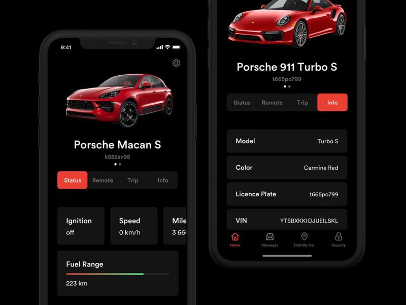 Porsche PCC App Concept dark car ios ipad iphone app