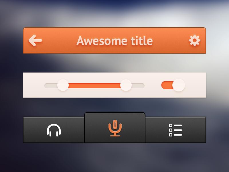 Small orange UI background ui app iphone blur button icon psd switch freebie