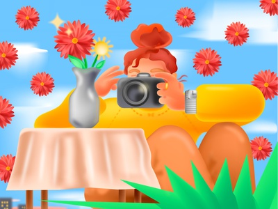 Photographer gradient 3d flowers redhead girl canon nikon camera photographer photography photo professionals professional creatives people illustrations flat icon flat design illustration design