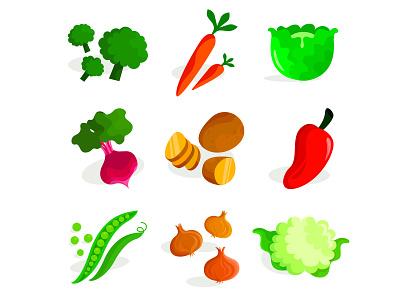 Veggies lunch food and beverage food app food art green vegetables vegetable food vector illustrator illustrations illustration icon flat icons flat icon design flat icon flat flat design design