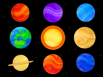 Planets And Sun 2 sun earth planet earth planet stars space planets ui ux vector illustrator illustrations illustration icon flat icons flat icon design flat icon flat design flat design