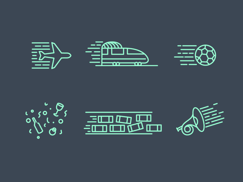 Icon set for sound effects icon transport sport music