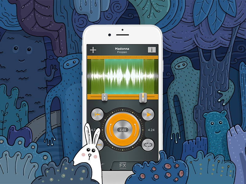 Phone in forest monster illustration forest rabbit app sketch drawing hand