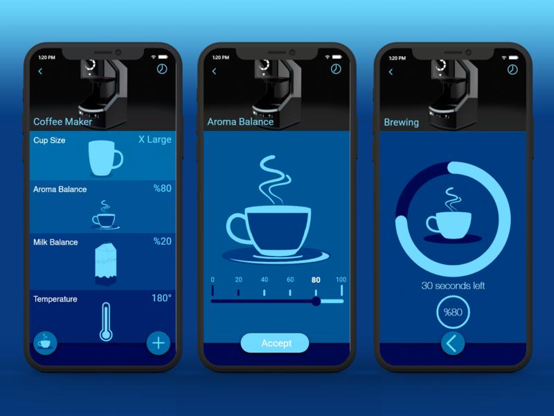 Coffee Maker App home appliances mobile app design mobile mobile app web ux interaction app concept ui typography vector daily ui design flat app design daily challange illustration app