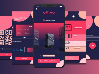 Velox Luggage App logo vector concept design concept daily challange travelling travel app travel design minimal interaction icon app design ux app concept app typography ui daily ui flat