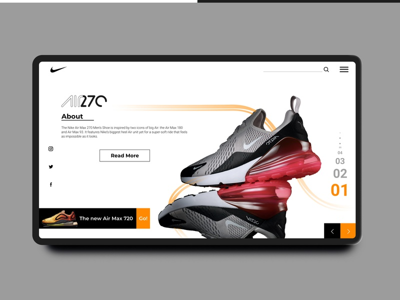 Air 270 Landing Page landingpage interaction website web sports vector ux ui typography sketchapp minimal landing page concept icon nike flat design concept dailyui daily challenge app concept app