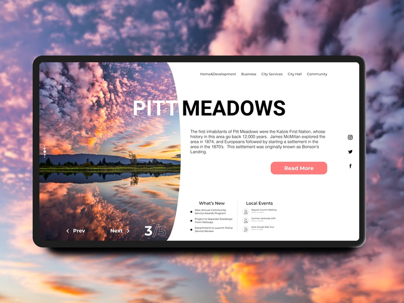 Pitt Meadows Landing Page concept interaction app design traveling travel website design flat design app landing page design landing page website ux daily challange web design concept minimal daily ui ui typography flat