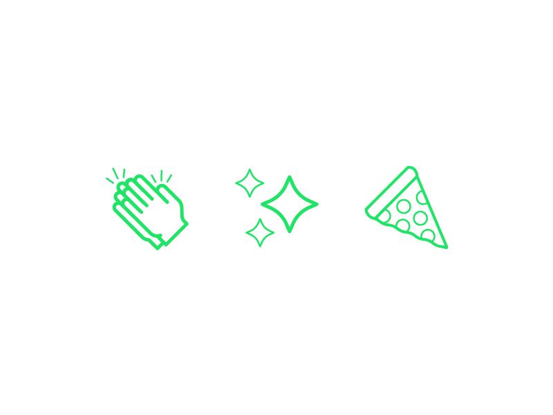 Friendly Emojis friendly design hour friendlydc friendly line art illustration icon sparkle hands pizza emoji