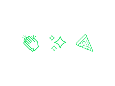 Friendly Emojis friendly design hour friendlydc friendly line art illustration icon sparkle hands pizza emoji