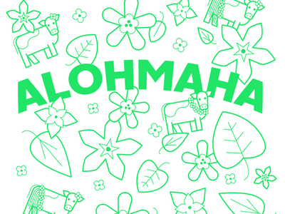 Alohmaha! friendlydc friendlydesign pattern flowers foliage leaves animal cow hawaii tropical