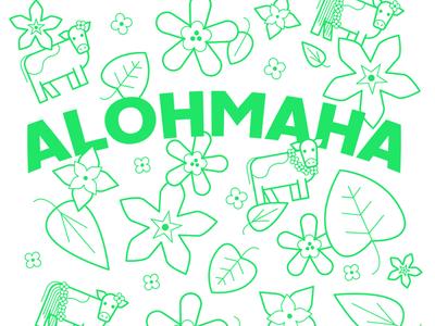 Alohmaha! friendlydc friendlydesign pattern flowers foliage leaves animal cow hawaii tropical