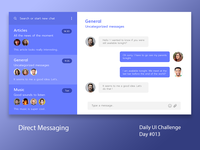 Daily UI Design Challenge #013 - Direct Messaging