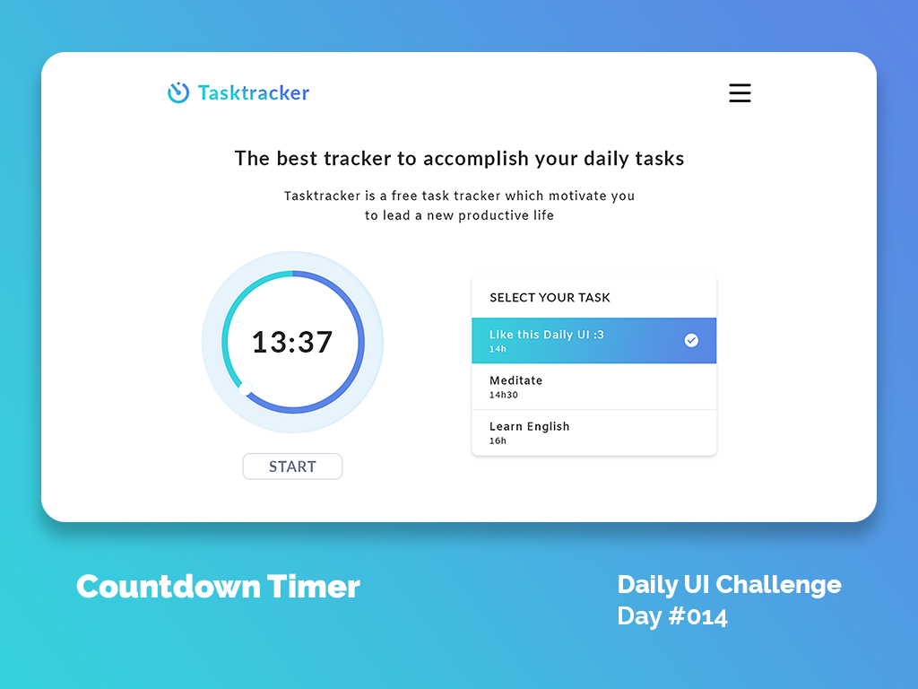 Daily UI Design Challenge #014 - Countdown Timer by Adrian Rin