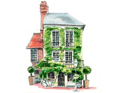 The house with the green wall old house urban sketching watercolor graphic art illustration