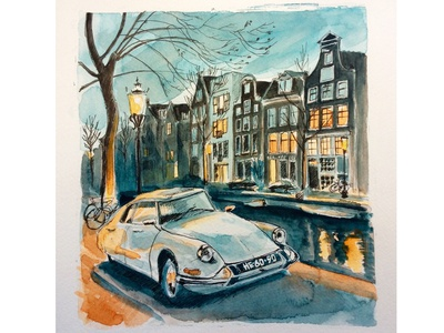 Amsterdam at night with vintage citroen on foreground
