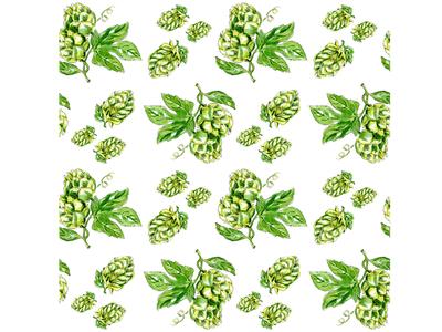 Hops plant seamless pattern