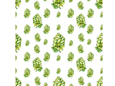 Hops cones seamless pattern