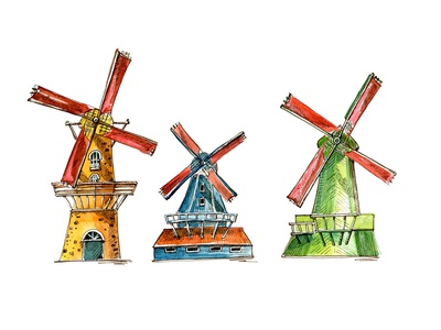 Colored windmills of Netherlands