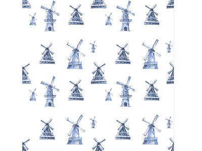 Duitch winmills seamless pattern